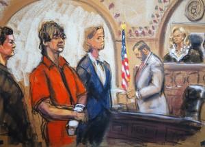 Defense attorneys Miriam Conrad and Judy Clarke flank Dzhokhar Tsarnaev as Judge Marianne Bowler looks on in Boston, Massachusetts in this court sketch